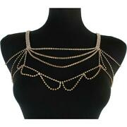 Luxe Statement Gold Crystal Shoulder Bib Necklace Body Chain By Rocks Boutique