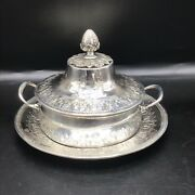 Rare A-h Dubois 18th Century French.950 Silver Ecuelle With Cover On Stand.