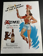Slight Offgrade Acme Beer Ad Not A Sign Pin Up California 1940andrsquos Original