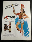 Acme Beer Ad Not A Sign Pin Up California 1940andrsquos Original Bear And Girl
