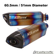 51mm / 60.5mm Universal Motorcycle Exhaust Muffler Pipe Half Blue With Db Killer