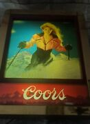 Rare Coors Motion Three-scene Skiing Beer Bar Light Sign Mountains
