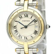 Polished Panthere Round 18k Gold Steel Quartz Mid Size Watch Bf520077