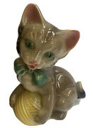 """Vintage Royal Copley Cat Kitty Ceramic Planter With Ball Of Yarn 8"""" X 7"""" Figure"""