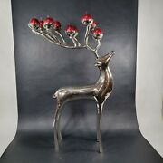 1997 Pottery Barn Silver Plated Reindeer Deer 10 Candle Holder 20andrdquoh 13andrdquol Disc