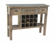 Zimlay Farmhouse Brown Wooden Twelve-bottle Wine Console With Drawers 47984