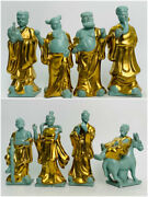 Old Chinese Song Dynasty Ru Kiln Porcelain Eight Immortals God Buddha Statue Set