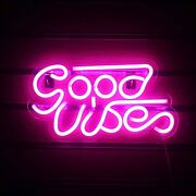 Good Vibes Neon Sign Lights Signs Lights With Usb Decor For Beer Bar 16inch