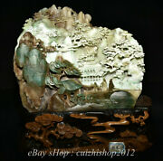 12 Chinese Natural Dushan Green Jade Carving Old Man Mountain Tree Sculpture