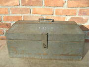 Vintage Heavy Duty Tool Box With Tray 22x8x11 For Tractor Car Old Farm Tools