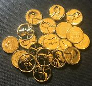 Lot Of 20 Assorted 24k Gold Plated Lincoln Wheat Cents