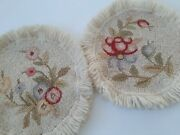 Vtg Set Hand Hooked Cheticamp Round Toppers Mini Rug Mat Floral Pink Yellow Blue