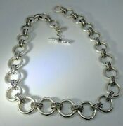 Rare Retro Lois Hill Hammered Round Link Scroll Necklace 20 20mm 3.9oz Sterling