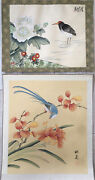 A Pair Of Vintage Chinese Watercolor Paintings On Silk Birds And Flowers Signed