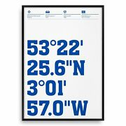 Tranmere Rovers Football Stadium Coordinates, Typography Prints And Posters