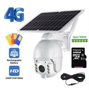 4g Solar Camera Wireless Security Hd 1080p Extended Installation+batteries+128gb
