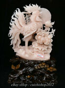 20 Natural Pink Xiu Jade Jadeite Carved Feng Shui Zodiac Animal Rooster Statue