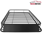 Universal Car 62and039and039x39 Black Steel Roof Rack Top Luggage Carrier Basket