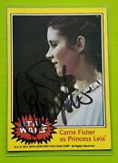 1977 Carrie Fisher Princess Leia Star Wars Autograph Card 190 With Coa