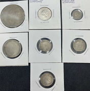 Netherlands And Curacao Lot Of 7 Silver Coins -