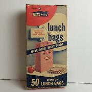 1950's Lunch Bag Box W/ Advertising Character - Vintage Food Graphics