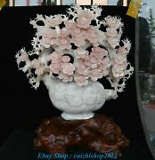 22.4 Old China Pink Xiu Jade Carving Plum Bossom Flower Basket Ornaments Statue