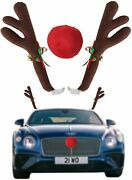 Car Reindeer Antlers And Nose - Christmas Decorations For Car Best For Car Suv Van