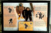 2x Antique 1950 Western German Monkeys Rubber Band Wind Up Toys By Erco In Case