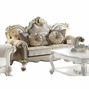 Acme Picardy Loveseat With Pillows In Fabric And Antique Pearl Finish 55461