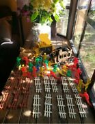 Vintage Processed Plastic Wagon And Horses And Wells Fargo/ Indian Figurines And More