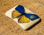 Vintage Ceramic Magnet Handmade Art Butterfly Style Plaque Beautiful Home Decor