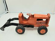 Vintage Marx Toys Orange Farm Tractor Metal Made In Usa Incomplete