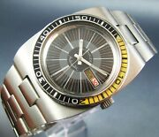 Vintage Longines Wittnauer Automatic Stainless Steel Diver Mens Watch 17j 1970s