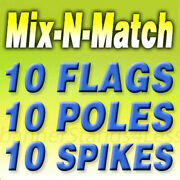 10 Pack Swooper Flag Kits Windless Feather Auto Shop Open Pizza Mix N Match