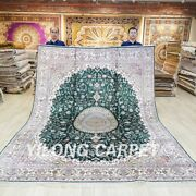 Green Hand Knotted Silk Carpets 8x10ft Living Room Handmade Area Rugs 025c