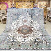 8x10ft Hand Knotted Silk Carpets Pictorial Medallion Handmade Area Rugs 027c