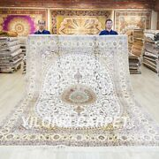 8x10ft Hand Knotted Silk Carpets Living Room Handwoven Area Rugs 035c