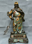 Old Larger Chinese Cloisonne Stand Guan Gong Yu Warrior God Sword Dragon Statue