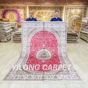 6x9ft Red Silk Area Rug Hand Knotted Carpet Oriental Antique Handmade 046c