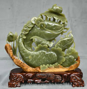 18china Natural Green Jade Wealth Money Jumper Fishes Fish Waterlily Flower