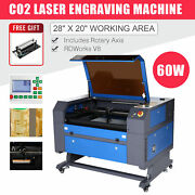 Co2 Laser Engraver Cutter 60w 28x20 Inch Ruida With Cylinder Rotary Attachment