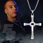 Fast And Furious Dominic Toretto 925 Sterling Silver Cross Pendant Necklace Cz