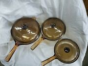 Vintage Corning Pyrex Vision Ware Amber Glass Cookware 6 Pc Set Pots And Lids