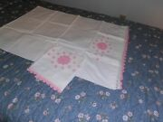Pair Vintage Crocheted Pillowcases Scalloped In Pink And White Roses Crochet