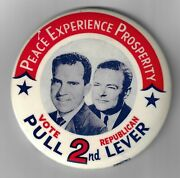 1960 Vot Gop Pull 2nd Lever Peace Experience Prosperity Nixon Lodge Election Pin