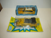 2 Old Huki Tin Cars With Friction Vw Beetle Adac Strassenwacht 212+ Vw 215 Boxed