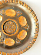 Collectible Passover Seder Plate Copper Cast Engraved Traditional Decor Judaica