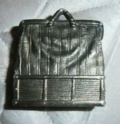 Antique Victorian Calling Card Tray / Holder Silver Plate Carpet Bag Style