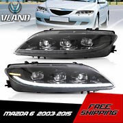 Vland Full Led Projector Headlights With Sequential Turn For Mazda 6 2003-2008