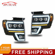 Pair Led Projector Headlights /wsequential Turn Signal Kit For 2009-14 Ford F150